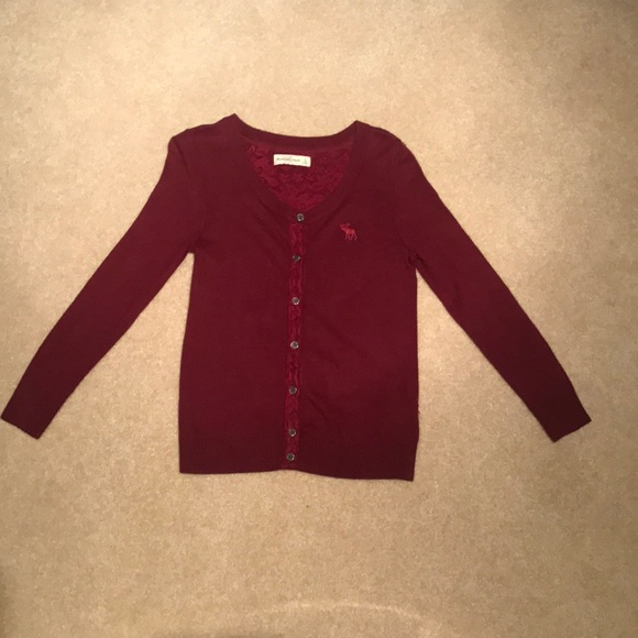 Abercrombie & Fitch Sweaters - A&F Burgundy  Lace Detail Cardigan